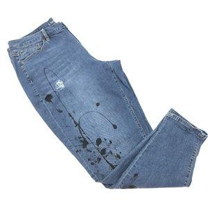 Splatter Distressed Lane Bryant Boyfriend Jeans 20